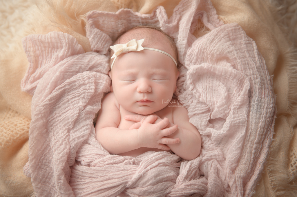 6 day old baby girl ~ ivory and pink! {fort mill newborn photos}