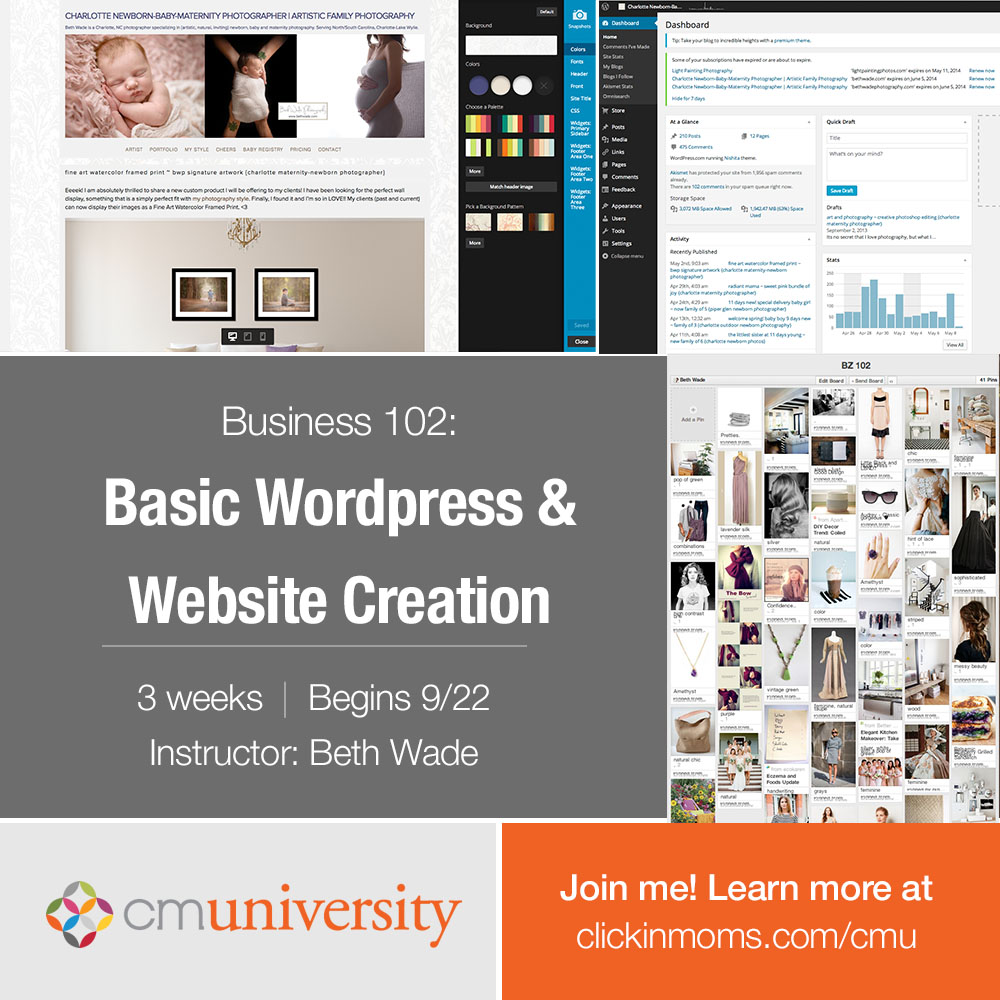 website workshop for photographers ~ internet marketing, seo and online presence {beth wade for clickin moms}